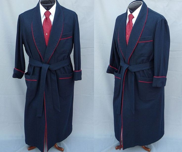 Navy dressing gown with red piping.Navy Dresses, Dresses Gowns, Red Pipe