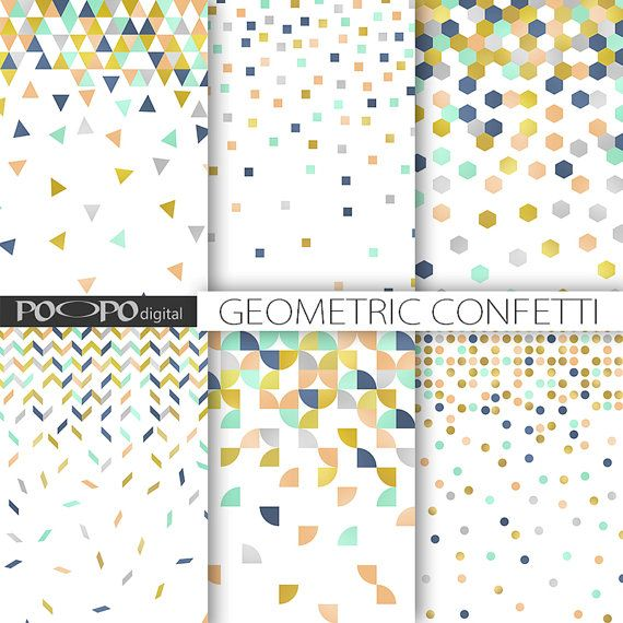 Confetti geometric digital paper scrapbooking pattern modern printable clipart background gift wrap wedding coral navy mint gold party
