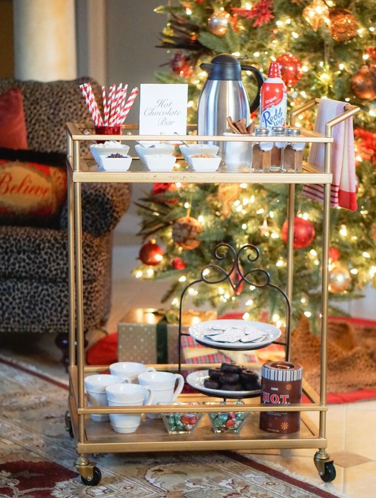 HOT CHOCOLATE BAR Christmas Entertaining Bar Cart Decor Holiday party decor