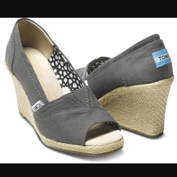 "TOMS Classic Wedges TOMS Classic Wedge in Ash Canvas. Brand new with box! Heel height approximately 3 1/4"". Cork wedge. In perfect condition. TOMS Shoes Wedges"