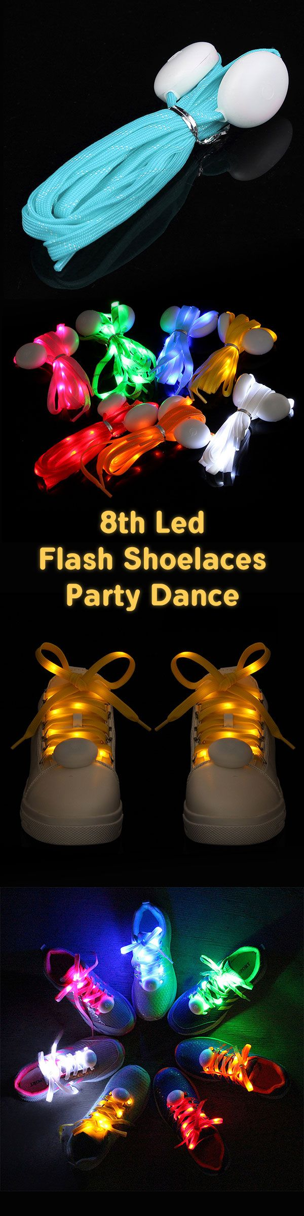 US$5.88 -- 8th Generation Flash Shoelaces LED Glowing Shoelaces Shoe Strap Outdoor Dance Party Supplies#newchic#festival#party