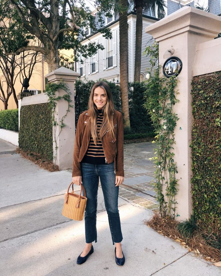 Gal Meets Glam GMG Now Daily Look 3-3-18 Ralph Lauren jacket, Demylee sweater, Frame jeans, Chanel flats, Vintage Ferragamo bag