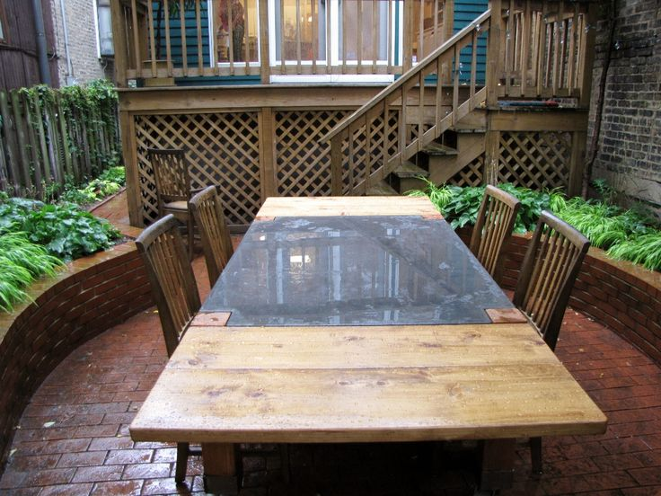 Concrete Topped Outdoor Table On Casters With Removable Wood Leaves U0026 Flush  Leg Design From Rustic