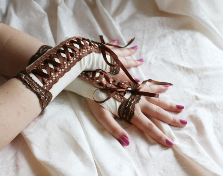 Beige-brown laced up steampunk armwarmers fingerless gloves by AlicesLittleRabbit on Etsy