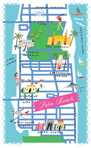 Palm Beach Map. Cute Framed