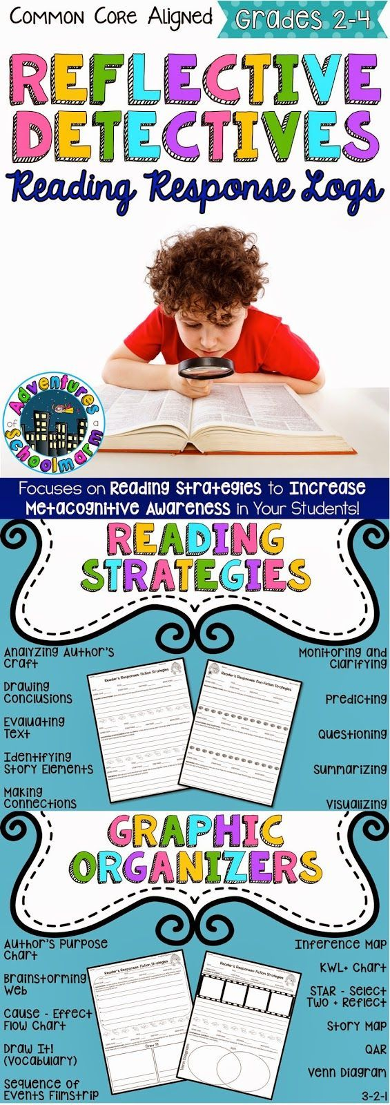 Adventures of a Schoolmarm: Reading ~ Reflective Detectives Book Logs    Increase metacognitive awareness through research-based reading strategies, graphic organizers, and student choice!