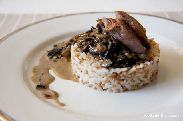 Slow-Cooked Shoulder of Lamb with Mushroom Sauce