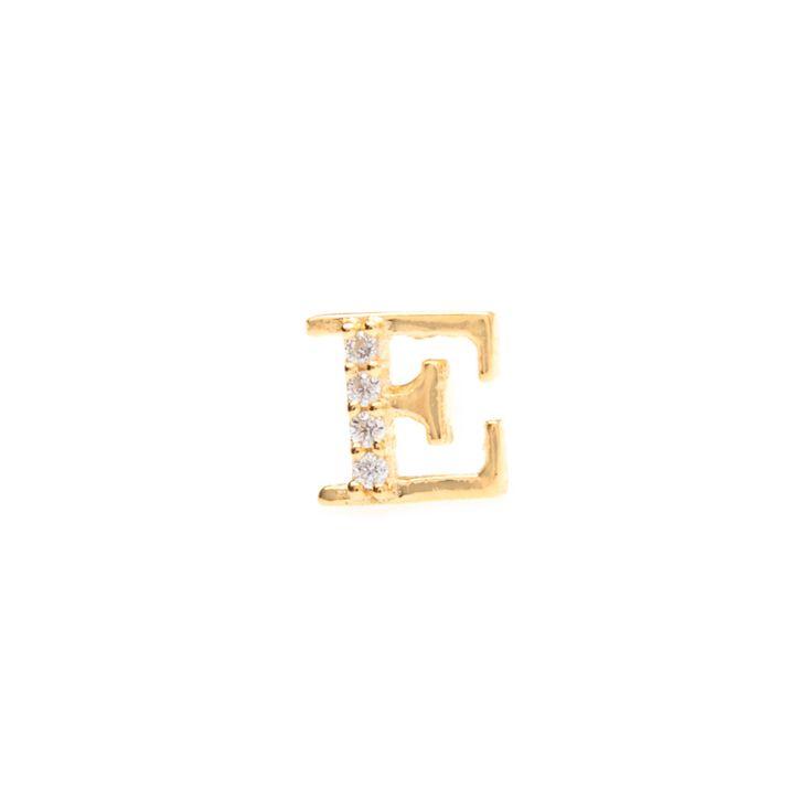 Gold single initial 'E' stud