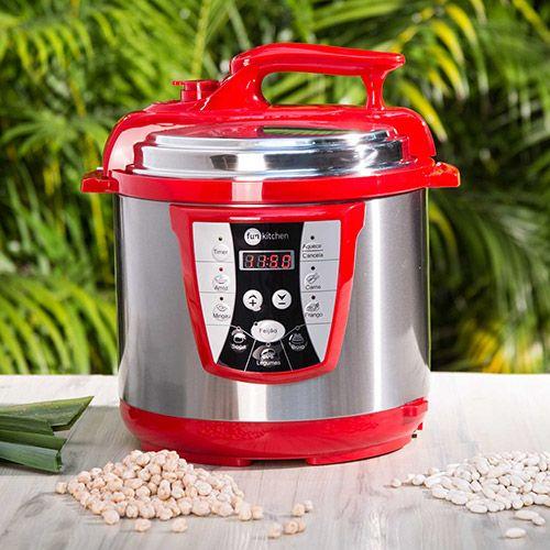 Shoptime Panela de Pressão Elétrica Fun Kitchen 6L com 2 Anos de Garantia - Vermelha / Preta - R$ 242,92