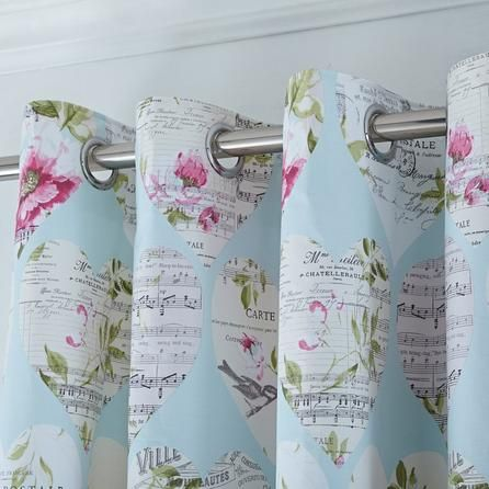 Dunelm Vintage Duck Egg Blue Melody Thermal Eyelet Curtains