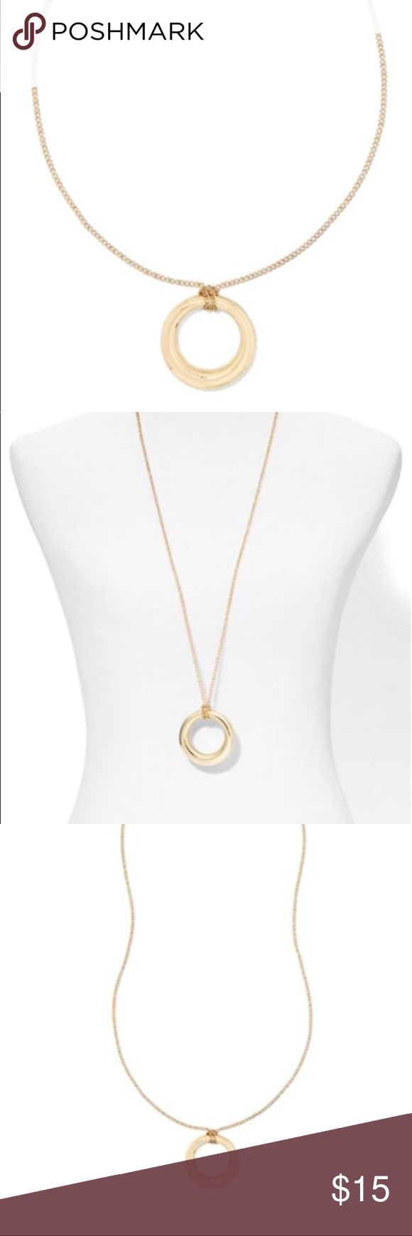 Long open circle pendant necklace An open-circle pendant adds a geo-chic finishing touch to the long necklace, enhanced by a high-shine finish.  Necklace length: 36 inches plus 3-inch extender. Mixed metal. Lobster clasp closure. Imported. Gold colored Jewelry Necklaces