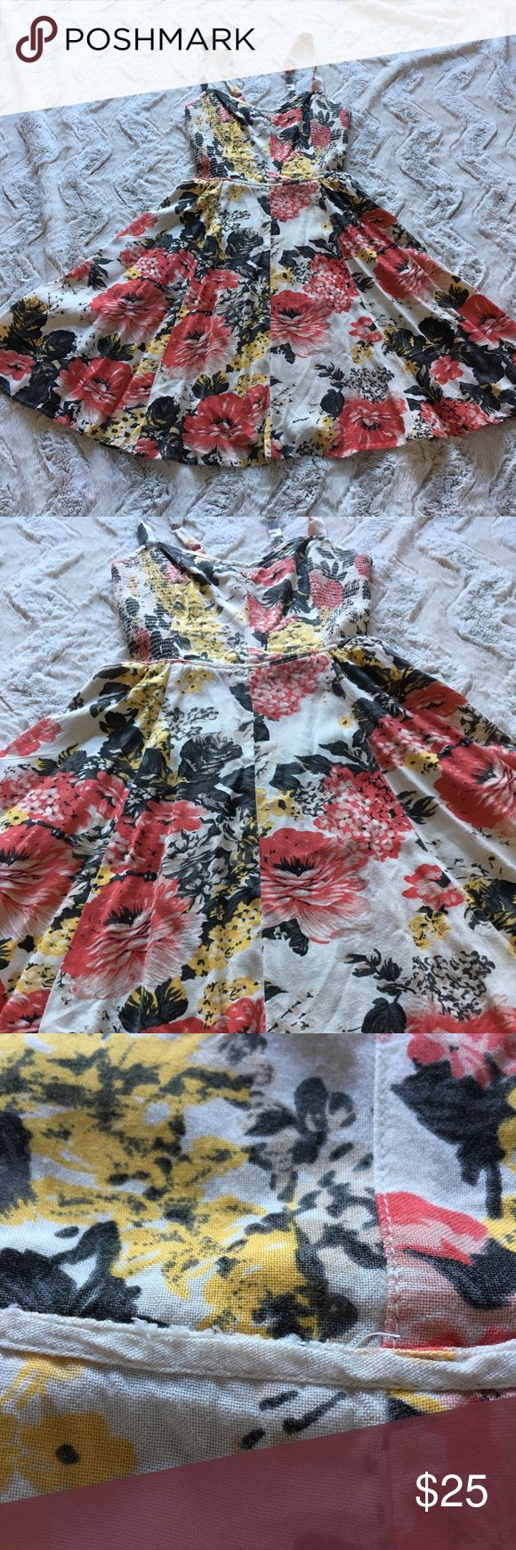 Kimchi Bleu floral mini sun dress with pockets Super cute!!! Perfect for spring.  Dress with pockets. Some wear on waist trim as pictured. Feel free to message me with any questions you have. Kimchi Blue Dresses Mini