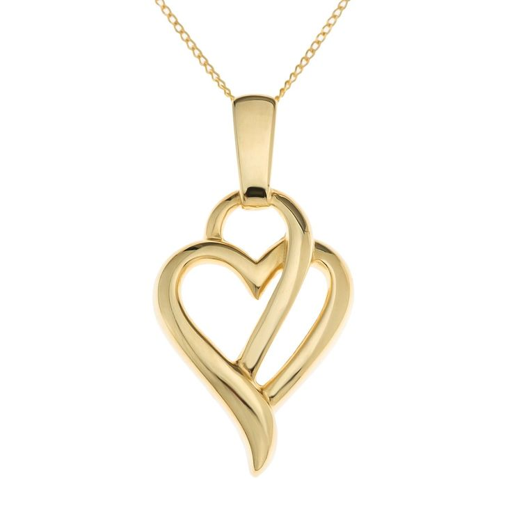 Ornami Ladies' 9 ct Yellow Gold Glamour Heart Pendant with 46 cm Chain