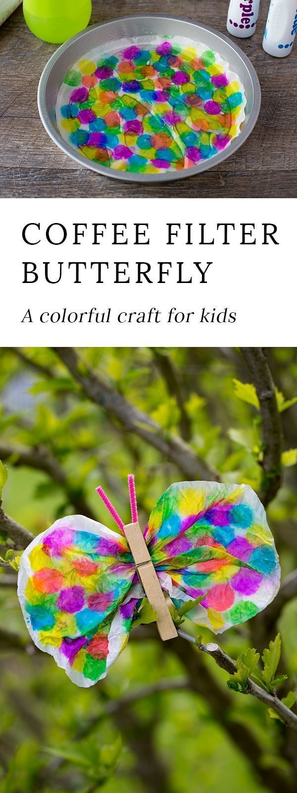 Not only is this Coffee Filter Butterfly Craft lovely, but it is packed with fine-motor skills. Dabbing, squeezing, scrunching, pinching…its perfect for kids! via HTTP://www.pinterest.com/fireflymudpie/