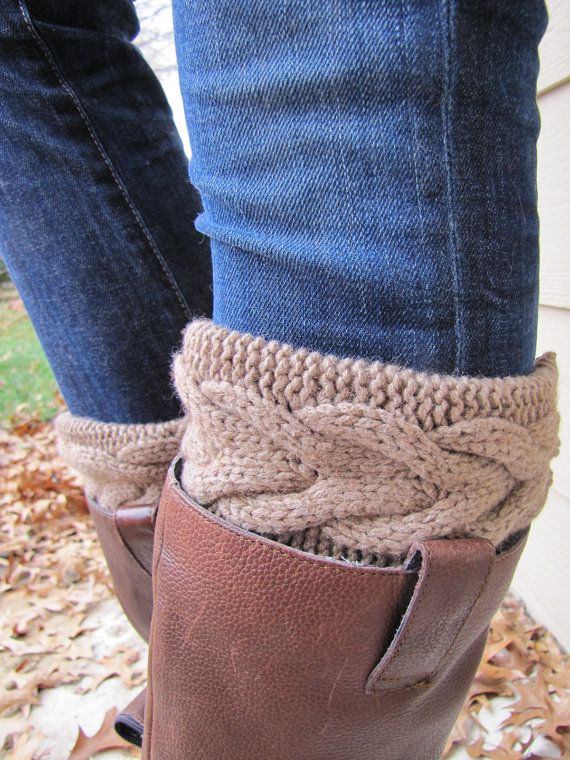 Boot Sock with Cuff-Full boot Sock sock Included- Topper-Boot Sock- Brown Large Cable Knit -Full sock included on Etsy, $35.00