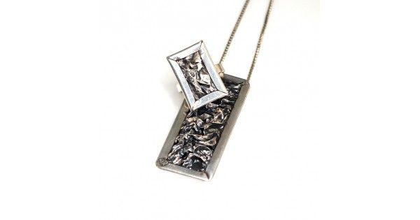 Set bijuterii statement brutaliste - inel și colier Mid-Century - argint
