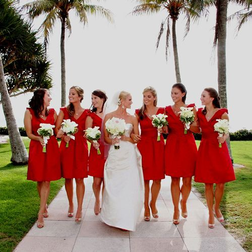 Beach wedding, short #Red #Bridesmaid #Dresses ♥ For an easy-to-follow 'Wedding Planning Guide' ... https://itunes.apple.com/us/app/the-gold-wedding-planner/id498112599?ls=1=8 ♥ For more wedding inspiration ... http://pinterest.com/groomsandbrides/boards/ & magical wedding ideas.