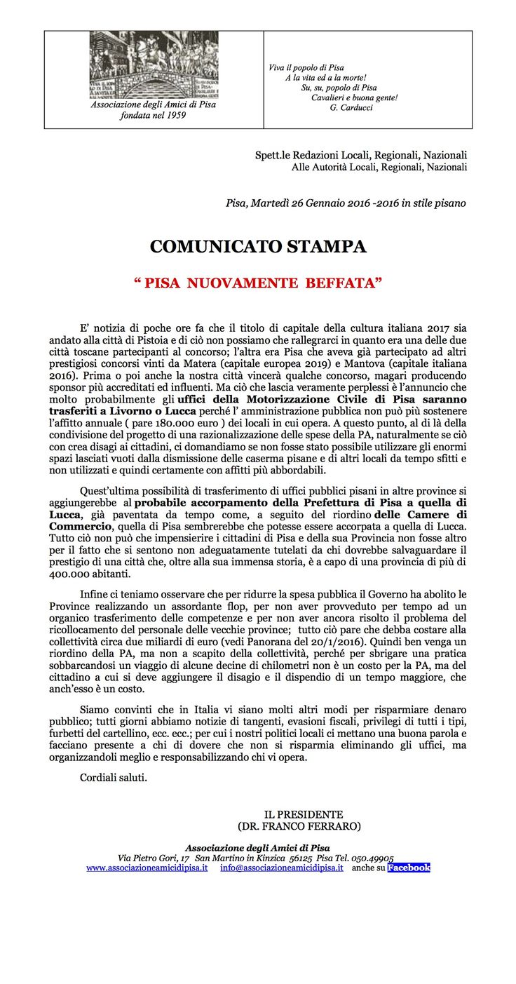 #comunicato stampa #pisa #amicidipisa #capitalecultura