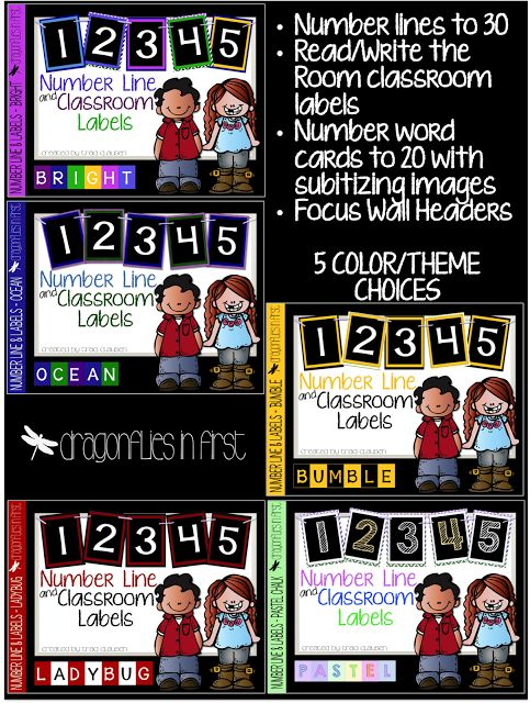 Read, Write and Just Plain USE the Room in Style- Number line, class labels for read/write the room, number word cards with subitizing images, and focus wall cards in 5 different color choices.