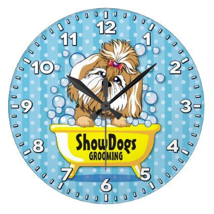 Dog Grooming Salon-Pet Groomer-Personalized Clock - diy cyo customize create your own personalize