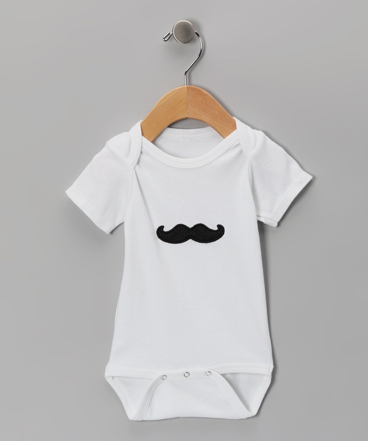 White Mustache #Bodysuit by Lollypop Ink on #zulily