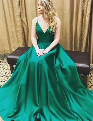 a33e7fd17d8 Charming V-Neck Dark Green Prom Dress