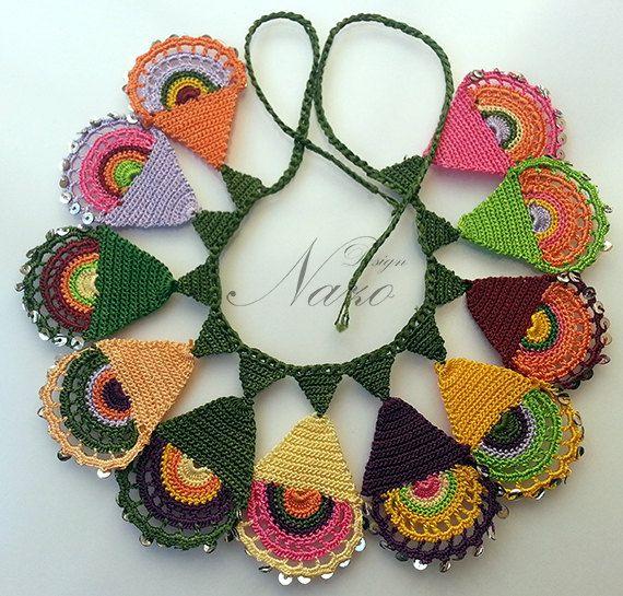 Beaded Necklace - Beaded Crochet Neckalce - Knotted Crochet Necklace - Needle Lace. $65.00, via Etsy.