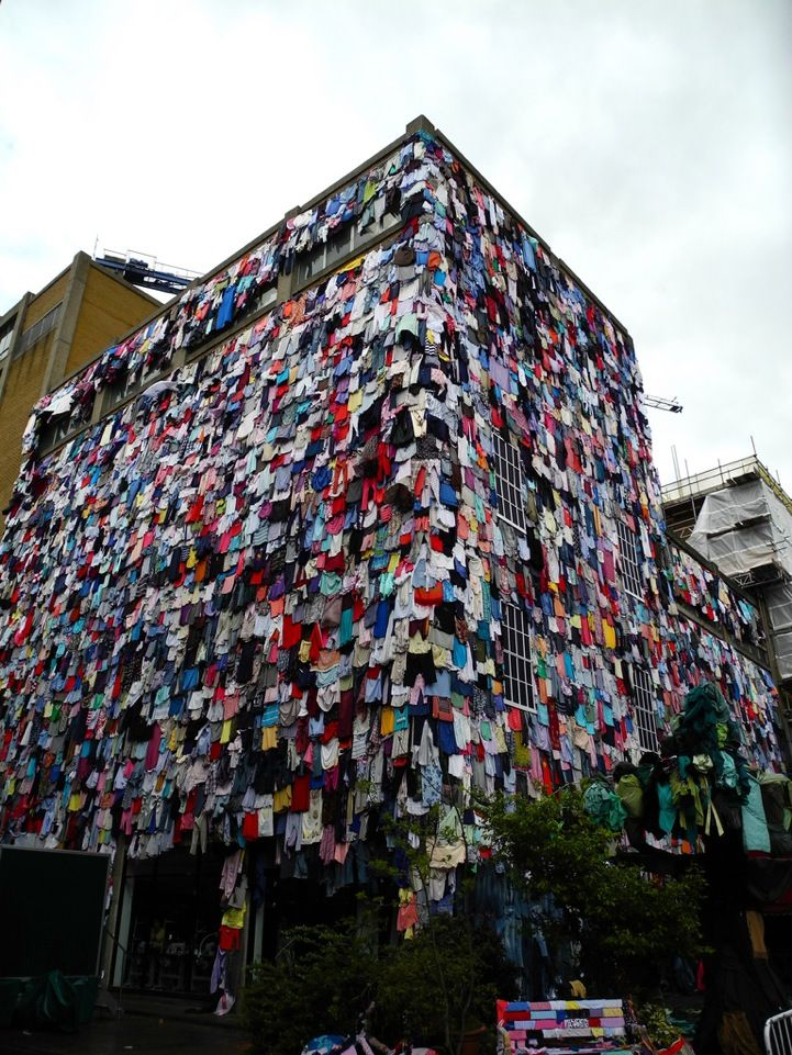 Marks & Spencer project called Shwopping, a portmanteau of shopping and swapping: an effort to recycle clothing and decrease waste. It seeks to draw attention to the amount of clothing that's discarded every day in the UK. The cause claims that approximately 10,000 articles of clothing go to landfills every five minutes.