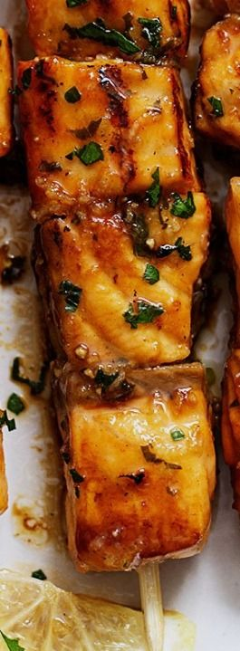 Lemon Garlic Butter Salmon Skewers — Eatwell101