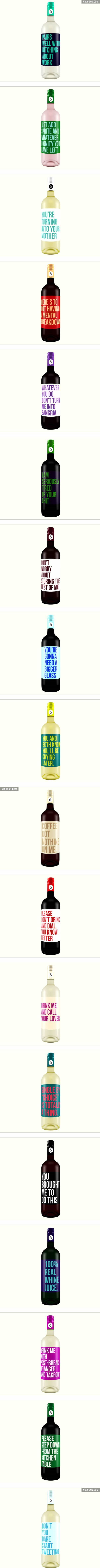 Brutally Honest Wine Labels - 9GAG                                                                                                                                                                                 More