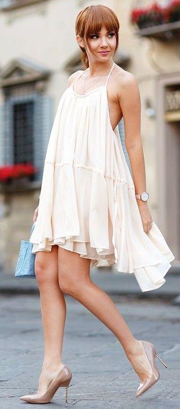 #summer #feminine #outfitideas | Nude Summer Dress