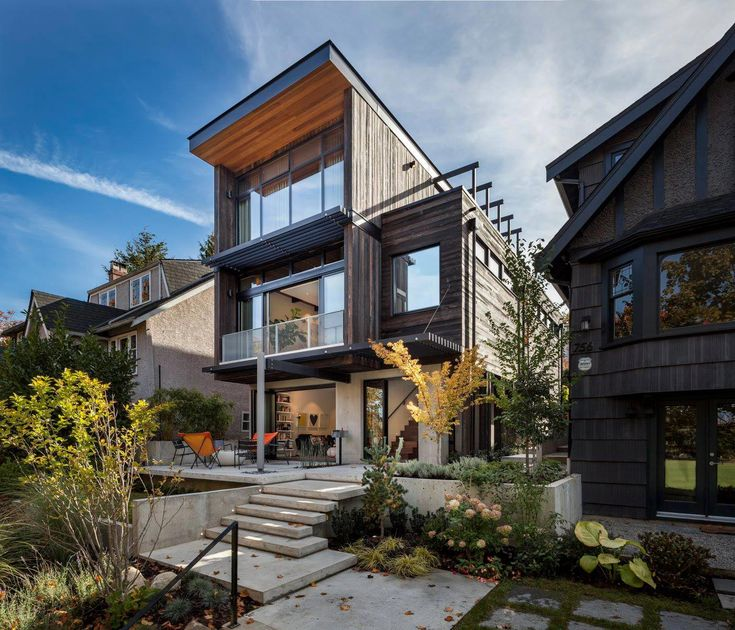 Mid Century Home Design With Exposed Structural Steel I Beam And Clear Fir  Wood