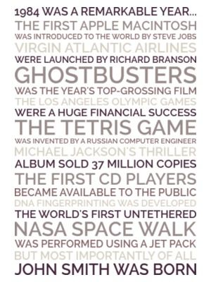 Create a personalized 30th birthday poster gift that celebrates all the remarkable things that happened in 1984, including the birth of your friend who's turning 30!