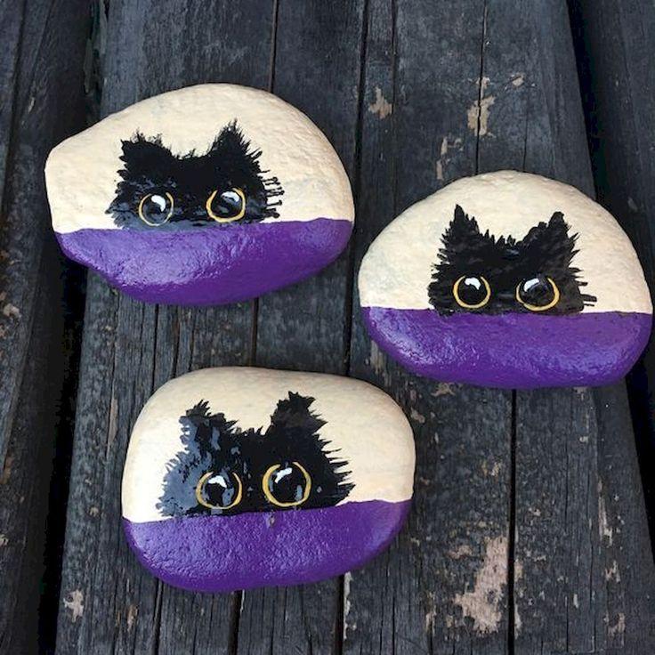 50 Inspiring DIY Painted Rocks Animals Cats for Summer Ideas (38