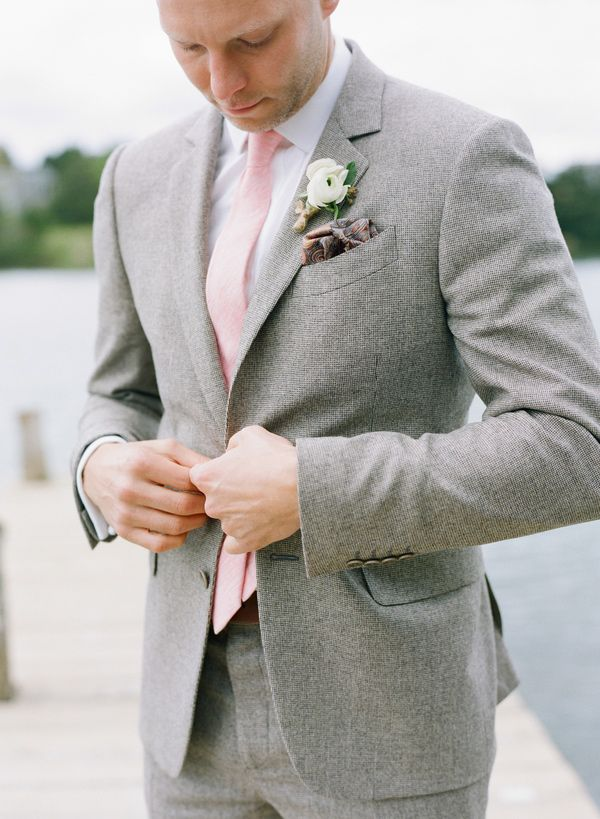 grey suit + pink tie // photo by Stacey Hedman // View more: http://ruffledblog.com/romantic-marthas-vineyard-wedding/