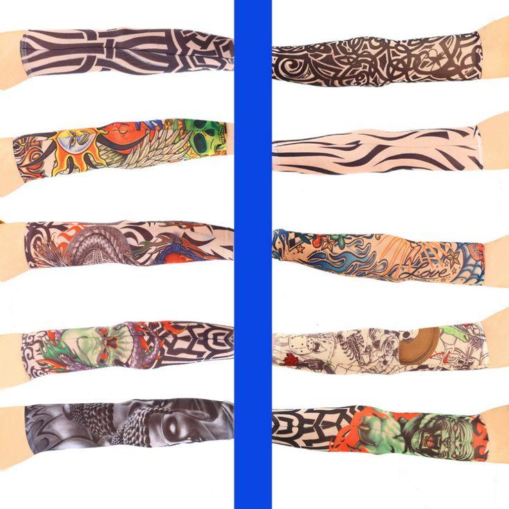 1pc Cool Multi colors Superfine fiber elastic Fake tattoo sleeve Arm stockings temporary tatoo Sport Skins Sun Protective