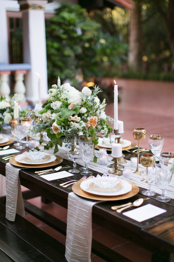 Elegant gold-accented tablescape: http://www.stylemepretty.com/california-weddings/2015/09/18/elegant-summer-wedding-inspiration-at-rancho-las-lomas/ | Photography: Damaris Mia - http://www.damarismia.com/