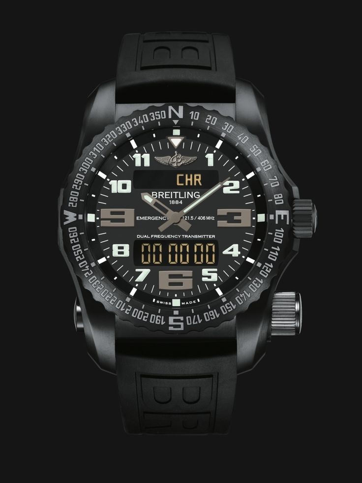 Emergency watch by Breitling - built in dual-frequency Personal Location Beacon, all-black stealth design in stainless steel with rubber strap