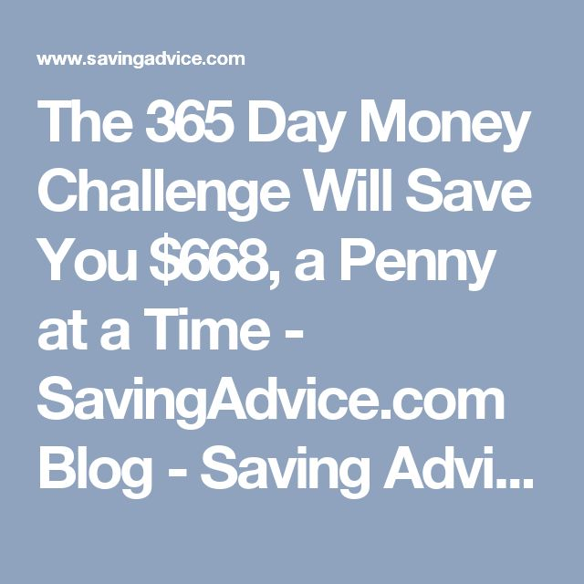 The 365 Day Money Challenge Will Save You $668, a Penny at a Time - SavingAdvice.com Blog - Saving Advice Articles