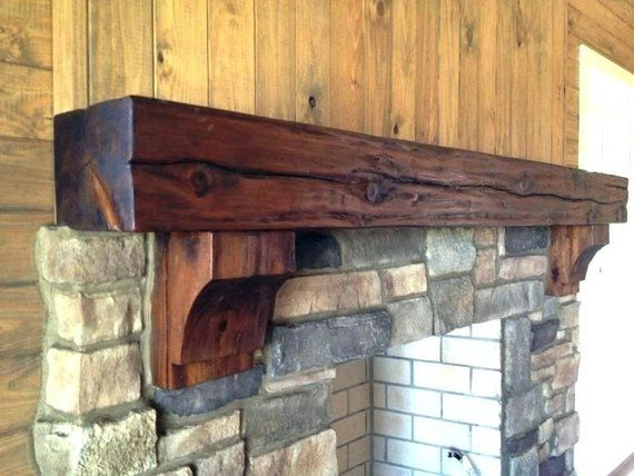 6 X Reclaimed Wood Beam Fireplace Mantel With Corbels In