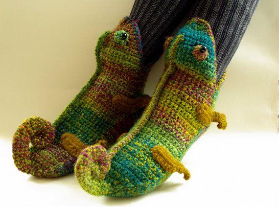 Crochet Slippers Chameleon Slippers Novelty Slippers