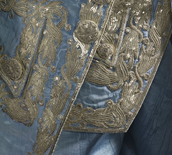 Man's Suit, France, circa 1760. Silk plain weave (faille), moiré finish, with sequins and metallic-thread embroidery. LACMA
