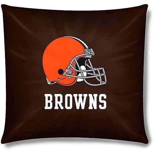 NFL Browns Throw Pillow 15 Football Themed Accent Pillow Sofa Sports Patterned Team Color Logo Fan Merchandise Athletic Spirit White Burnt Orange Seal Brown Polyester Cotton