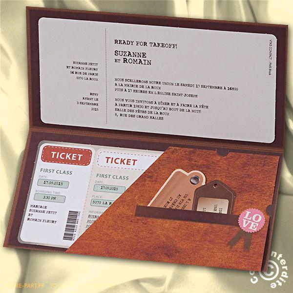 Faire-part de mariage Billet to Love Voyage - MH14-017 - Belarto 723017 | Faire-part.fr
