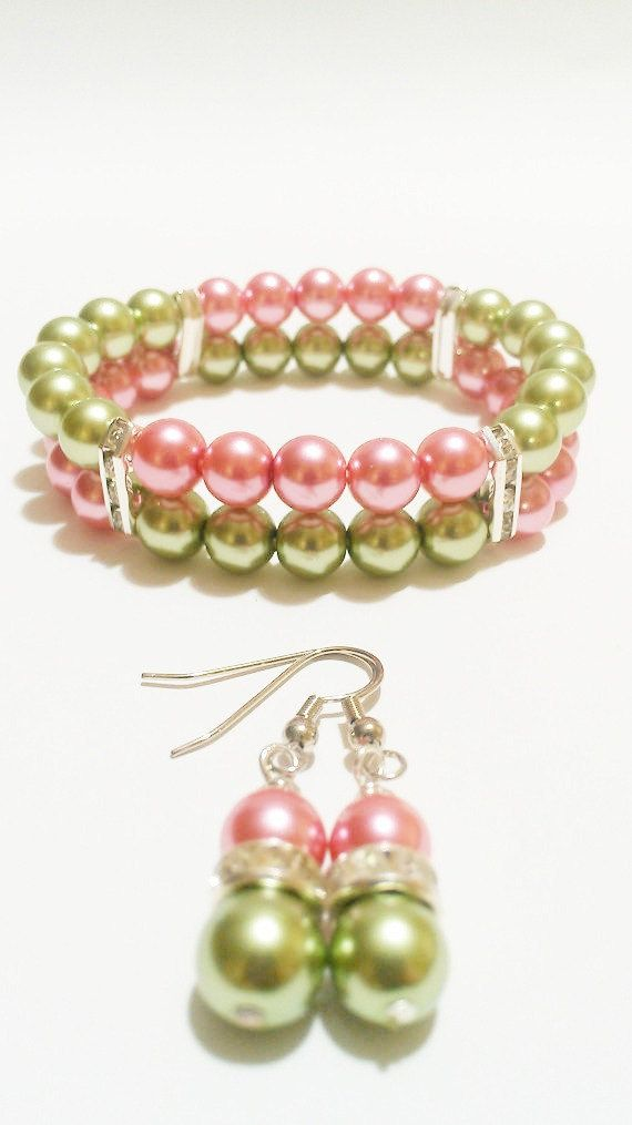 Pink and Green Bridal Bracelet and Earring by VickysLittleSecrets, $14.00