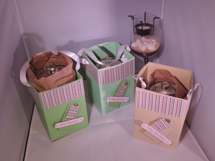 Gift boxes using stampin up products handmade by Kerry http://scrappyboxcrafts.com