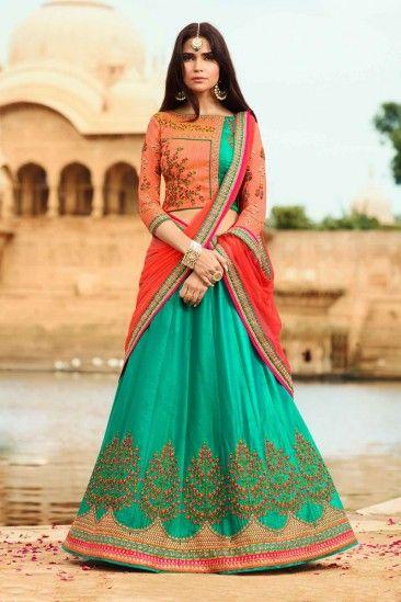 Designer Green Raw Silk Lehenga With Silk Choli - DMV12455