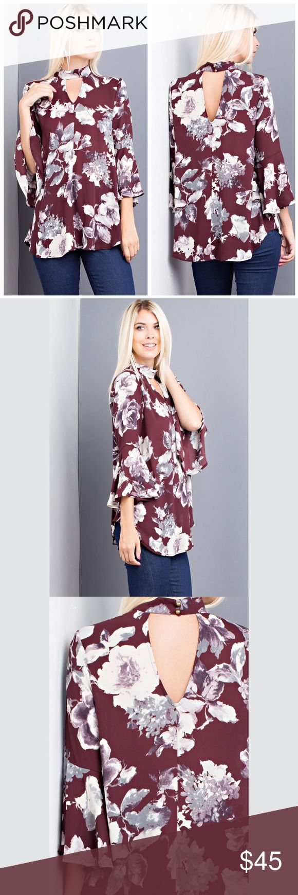"Ella 🔸 Floral Flowy Top d e s c r i p t i o n  This gorgeous flowing floral print top is a must have for any fall wardrobe. The bell sleeves and a unique neckline make this top a find for the transition to fall.  c o n t e n t  100% polyester   m e a s u r e m e n t s ✂️  I wear + M > Bust + 38"" > waist + 29.5""  p a i r e  w i t h 🌙  + light/white jeans + sandals 💵 bundle for a discount VEGA Tops Blouses"