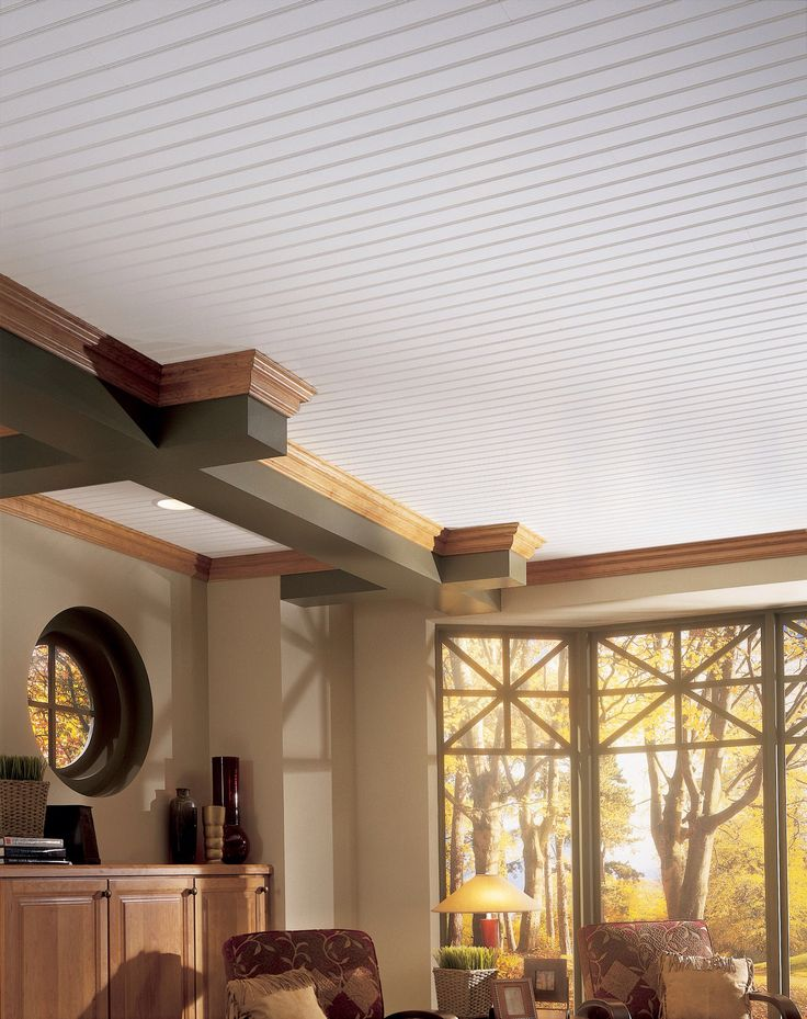 White Wood Ceiling · Basement Ceiling OptionsBasement CeilingsCeiling  IdeasCeiling ...