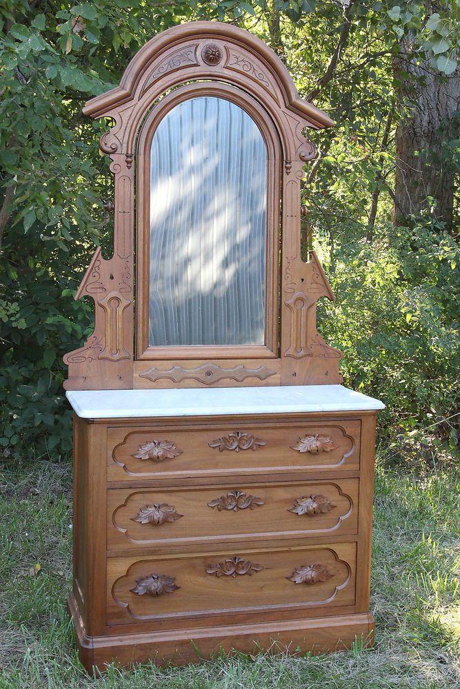Antique Eastlake Dresser Ornate Solid Walnut Wood Marble